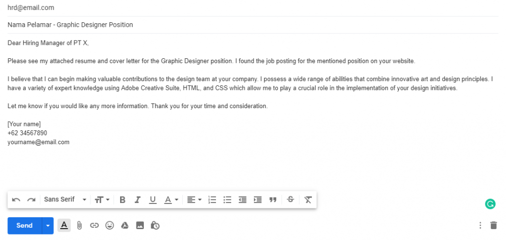 Sending Cover Letter Via Email from shiftinc.id